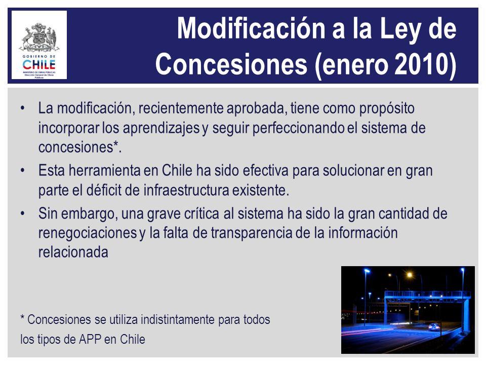 Modificación a la Ley de Concesiones (enero 2010)