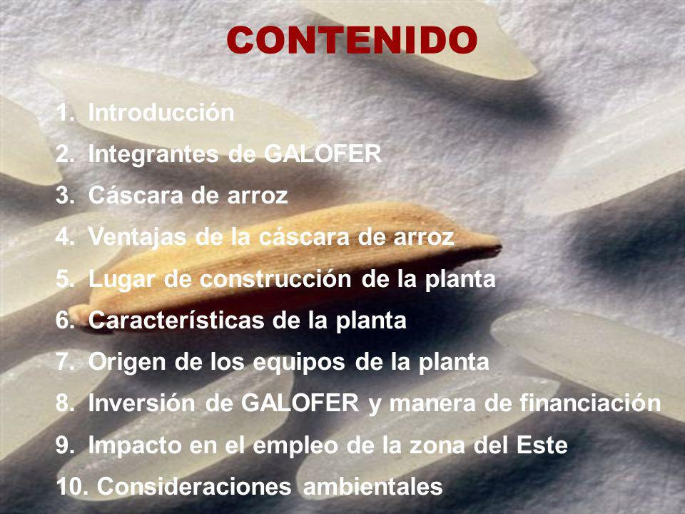 CONTENIDO Introducción Integrantes de GALOFER Cáscara de arroz