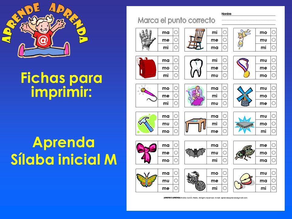 aprende aprenda @ Fichas para imprimir: Aprenda Sílaba inicial M