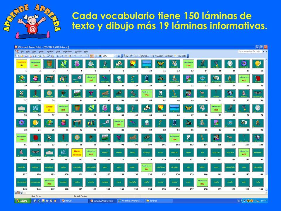 aprende aprenda Cada vocabulario tiene 150 láminas de texto y dibujo más 19 láminas informativas.
