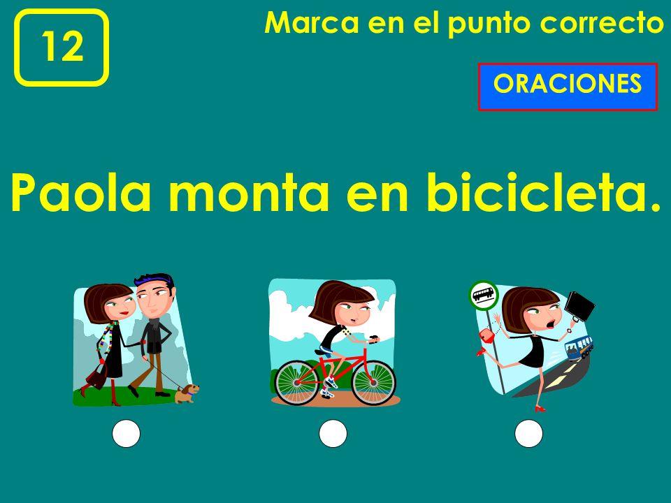 Paola monta en bicicleta.