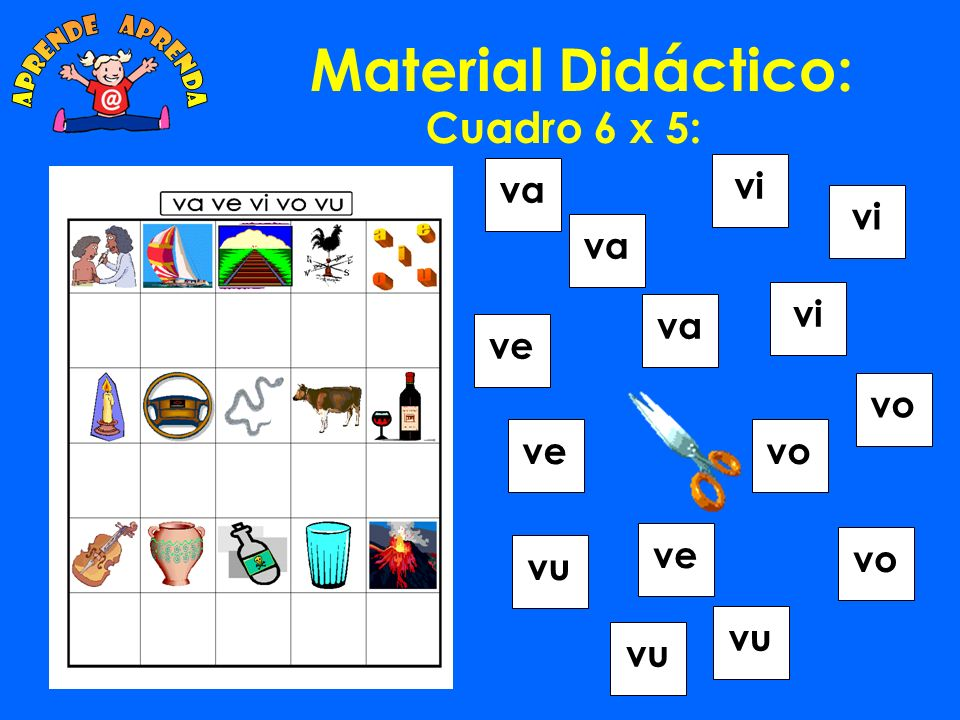 Material Didáctico: aprende aprenda Cuadro 6 x 5: va vi vi va vi va ve