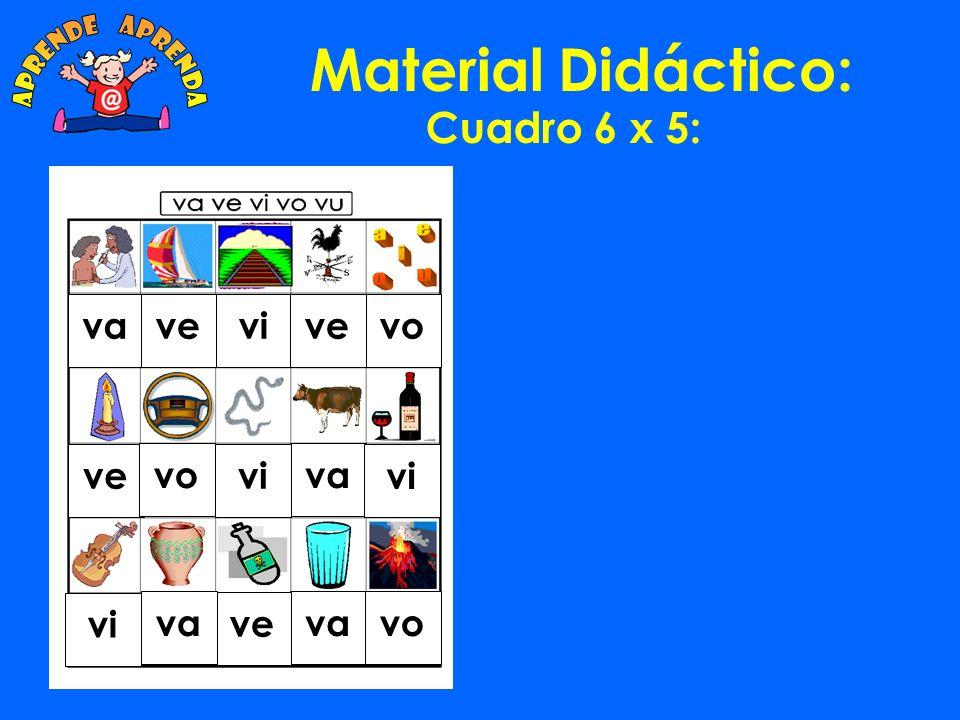 Material Didáctico: aprende aprenda Cuadro 6 x 5: va ve vi ve vo ve vo