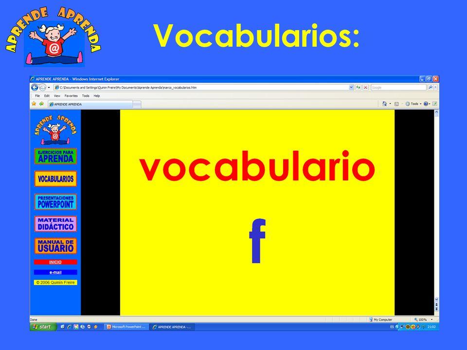 aprende aprenda Vocabularios: