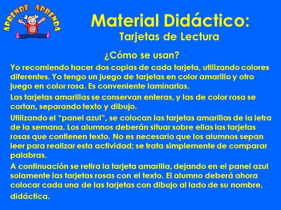 Material Didáctico: aprende aprenda Tarjetas de Lectura ¿Cómo se usan