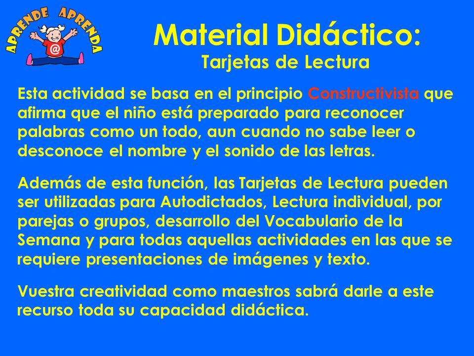 Material Didáctico: aprende aprenda Tarjetas de Lectura