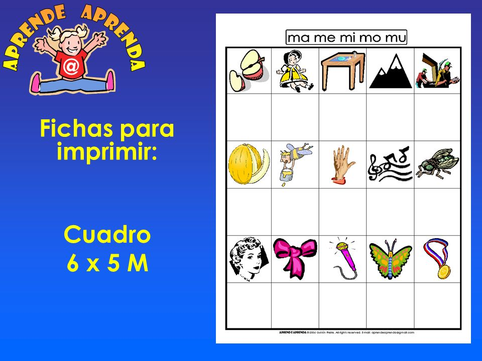 aprende aprenda @ Fichas para imprimir: Cuadro 6 x 5 M
