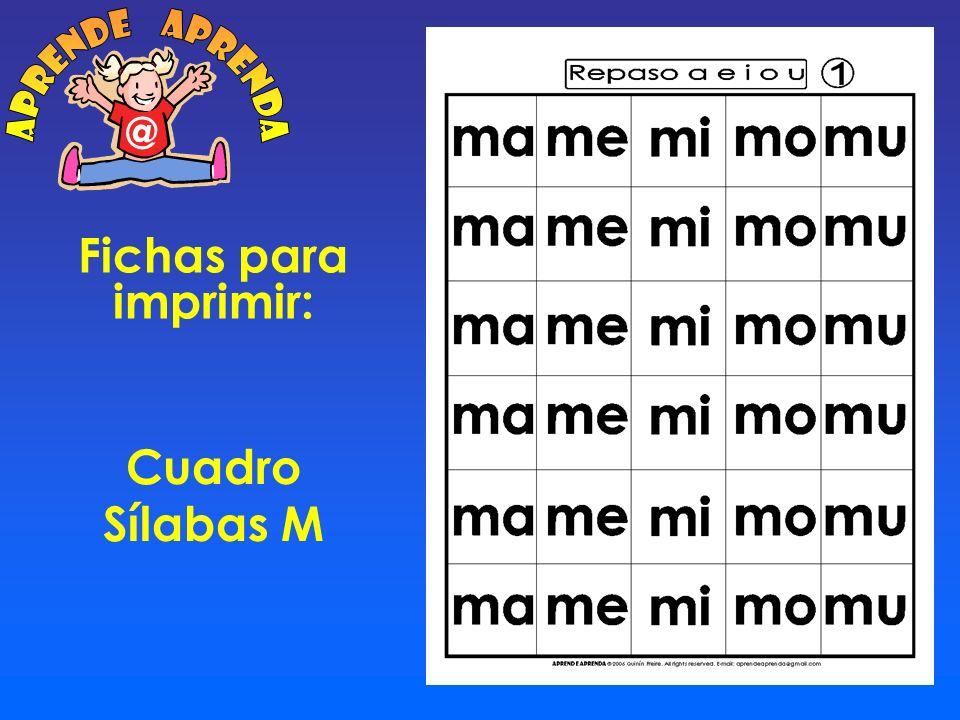 aprende aprenda @ Fichas para imprimir: Cuadro Sílabas M