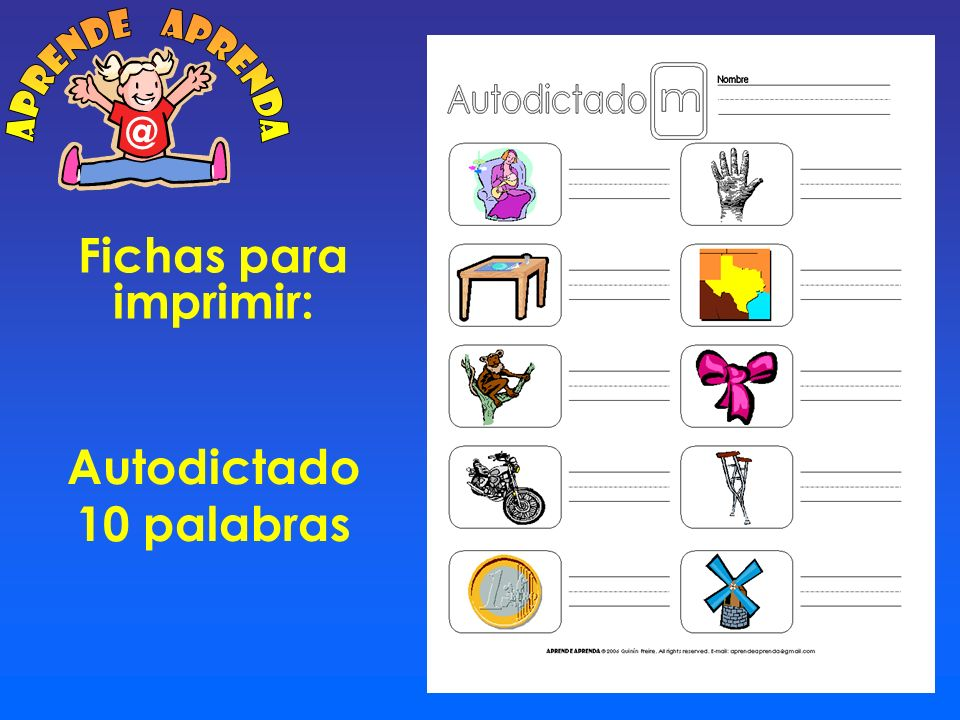 aprende aprenda @ Fichas para imprimir: Autodictado 10 palabras