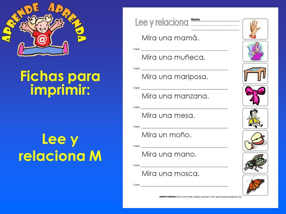 aprende aprenda @ Fichas para imprimir: Lee y relaciona M