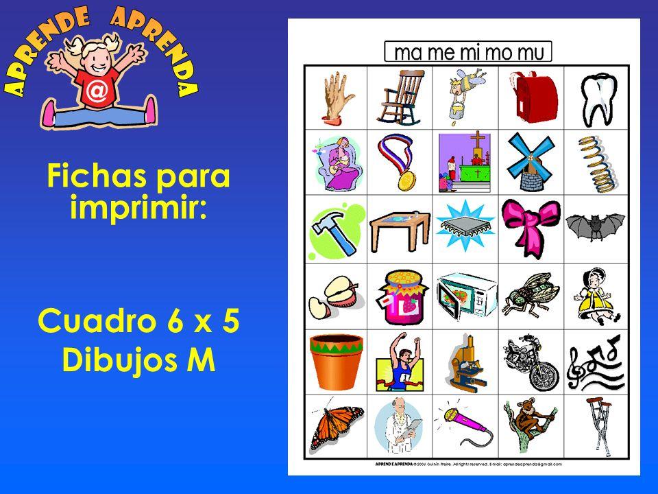 aprende aprenda @ Fichas para imprimir: Cuadro 6 x 5 Dibujos M