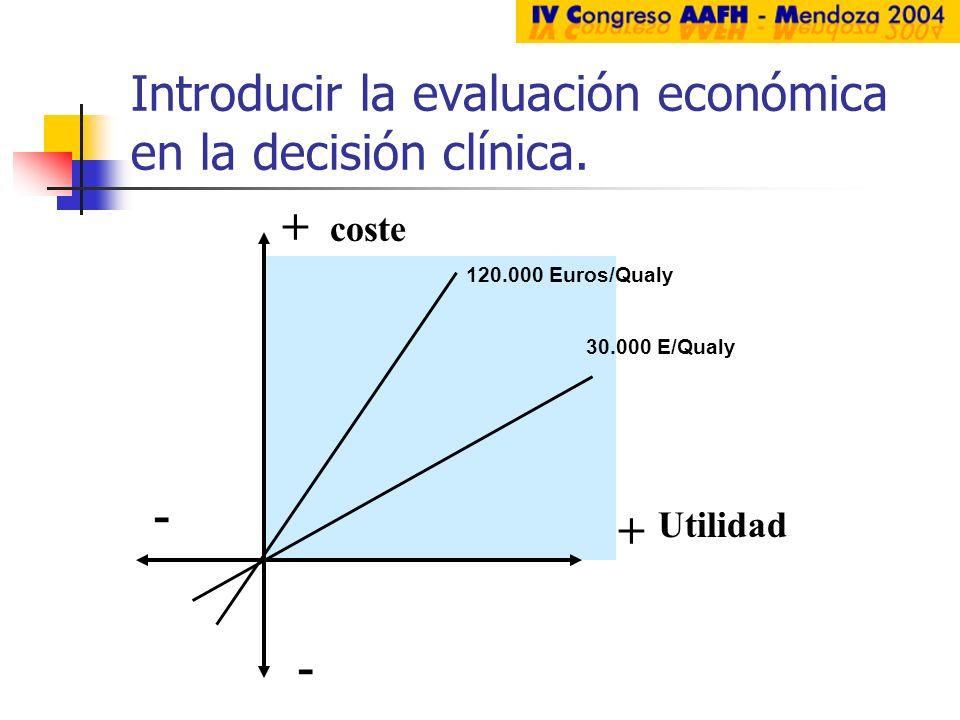 Introducir la evaluación económica en la decisión clínica.