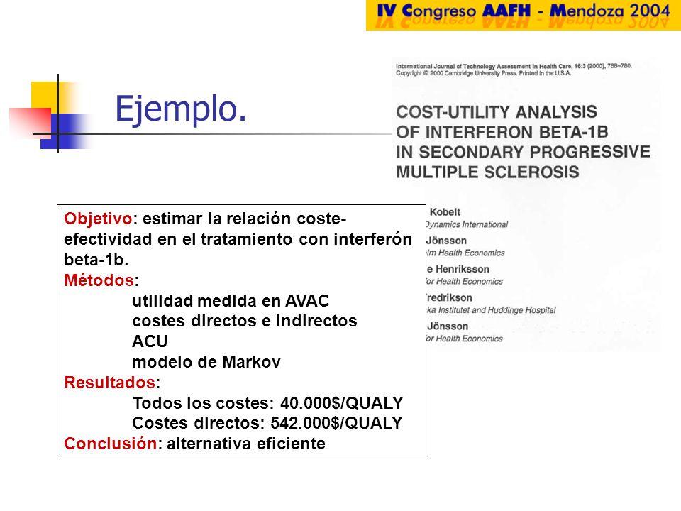 Ejemplo. Objetivo: estimar la relación coste-efectividad en el tratamiento con interferón beta-1b. Métodos:
