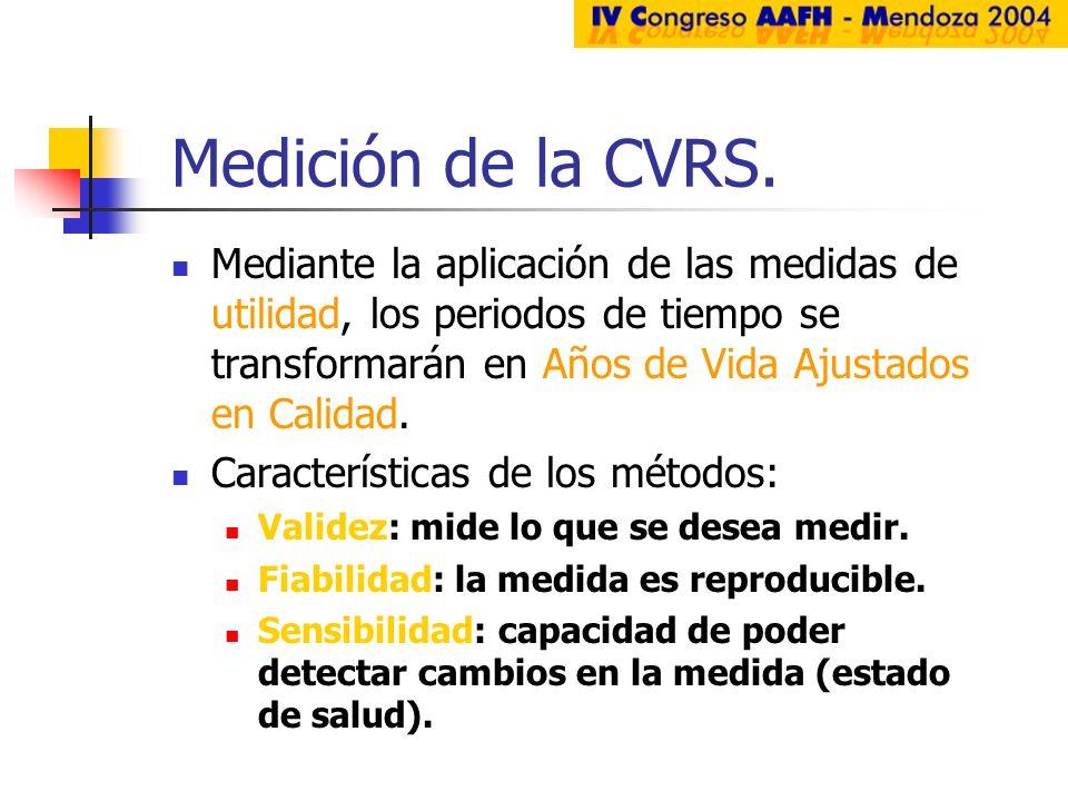 Medición de la CVRS. Mediante la aplicación de las medidas de utilidad, los periodos de tiempo se transformarán en Años de Vida Ajustados en Calidad.