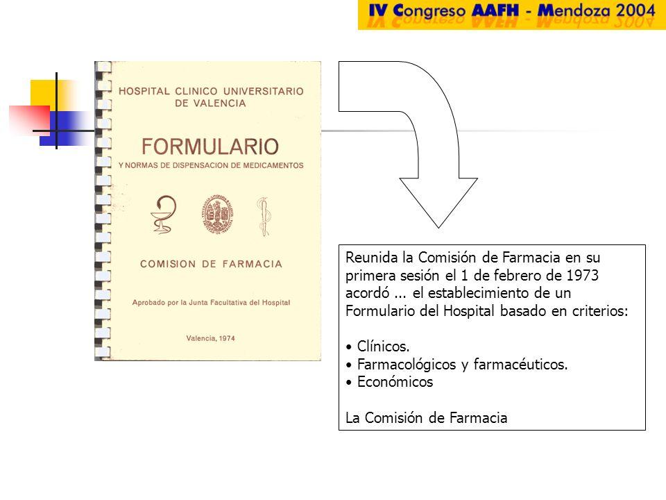 Reunida la Comisión de Farmacia en su primera sesión el 1 de febrero de 1973 acordó ... el establecimiento de un Formulario del Hospital basado en criterios: