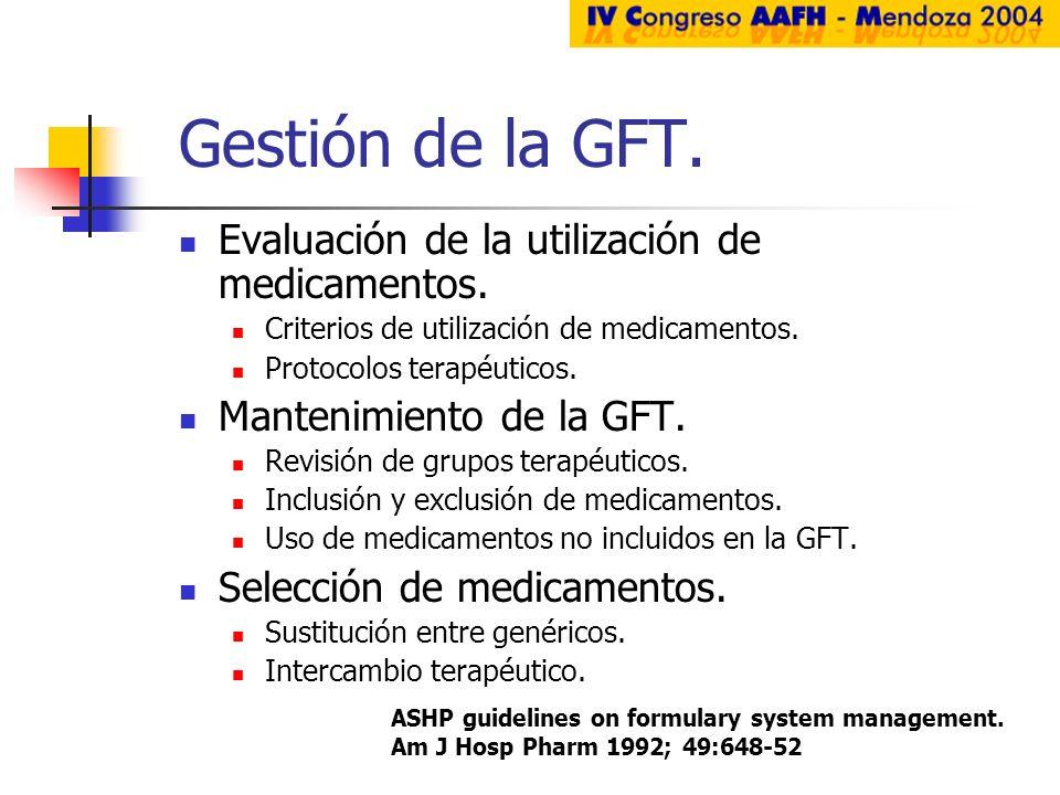 Gestión de la GFT. Evaluación de la utilización de medicamentos.