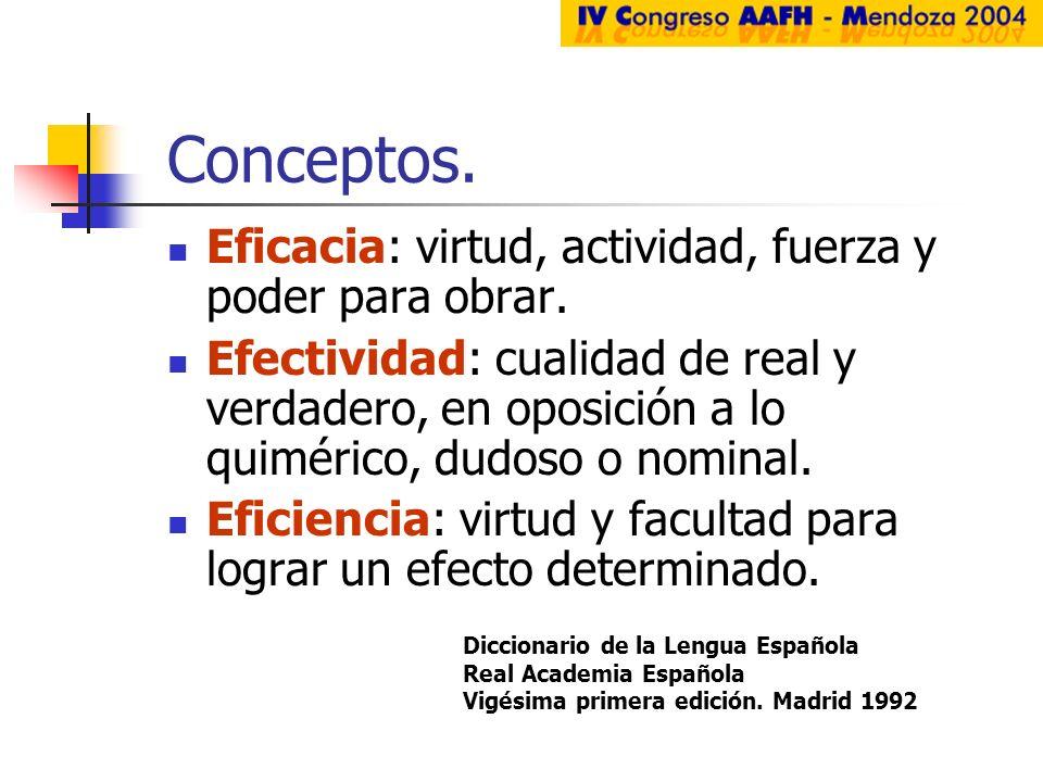 Conceptos. Eficacia: virtud, actividad, fuerza y poder para obrar.