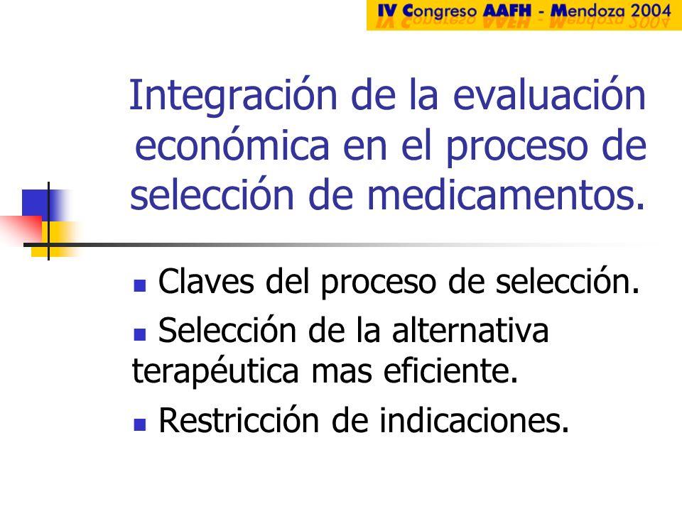 Integración de la evaluación económica en el proceso de selección de medicamentos.