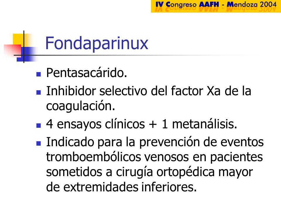 Fondaparinux Pentasacárido.