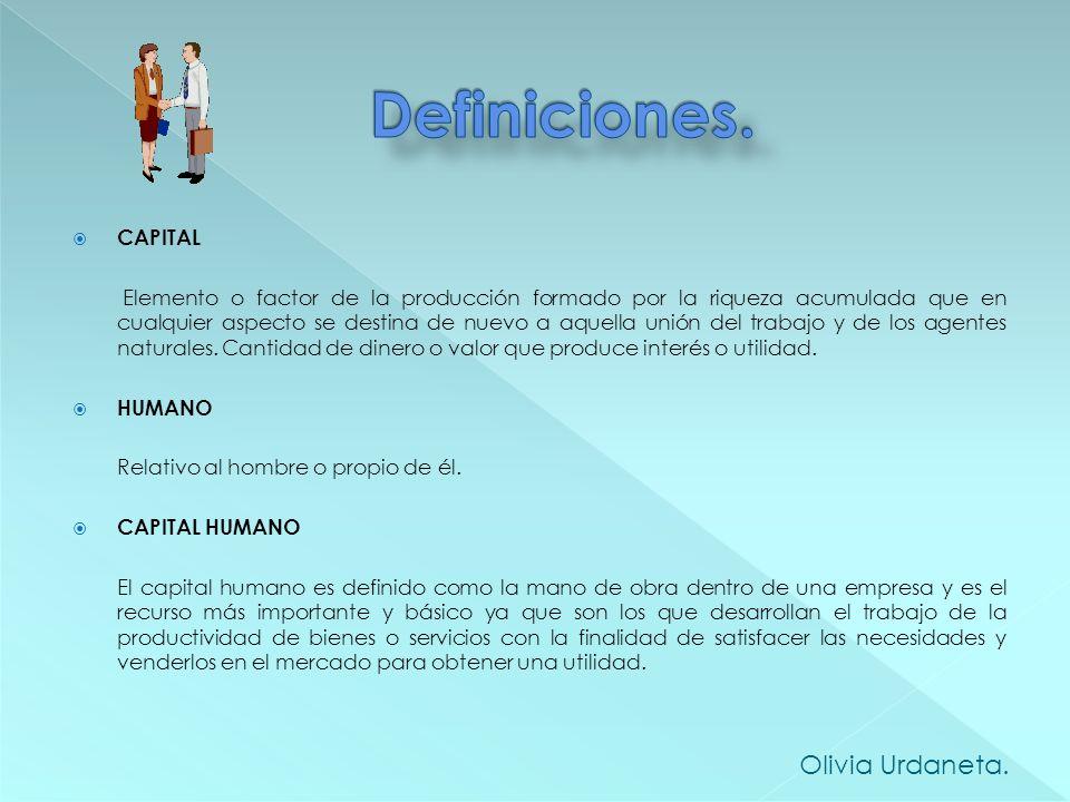 Definiciones. Olivia Urdaneta. CAPITAL