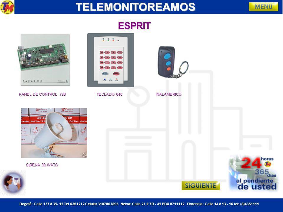 TELEMONITOREAMOS ESPRIT PANEL DE CONTROL 728 TECLADO 646 INALAMBRICO