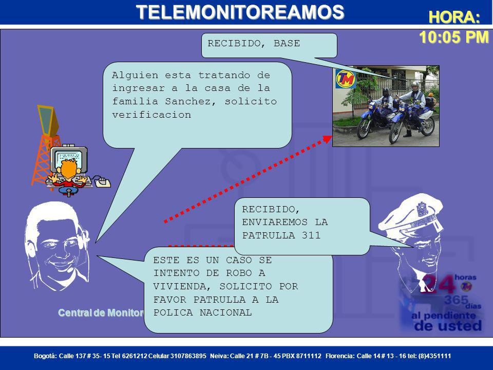 TELEMONITOREAMOS HORA: 10:05 PM RECIBIDO, BASE