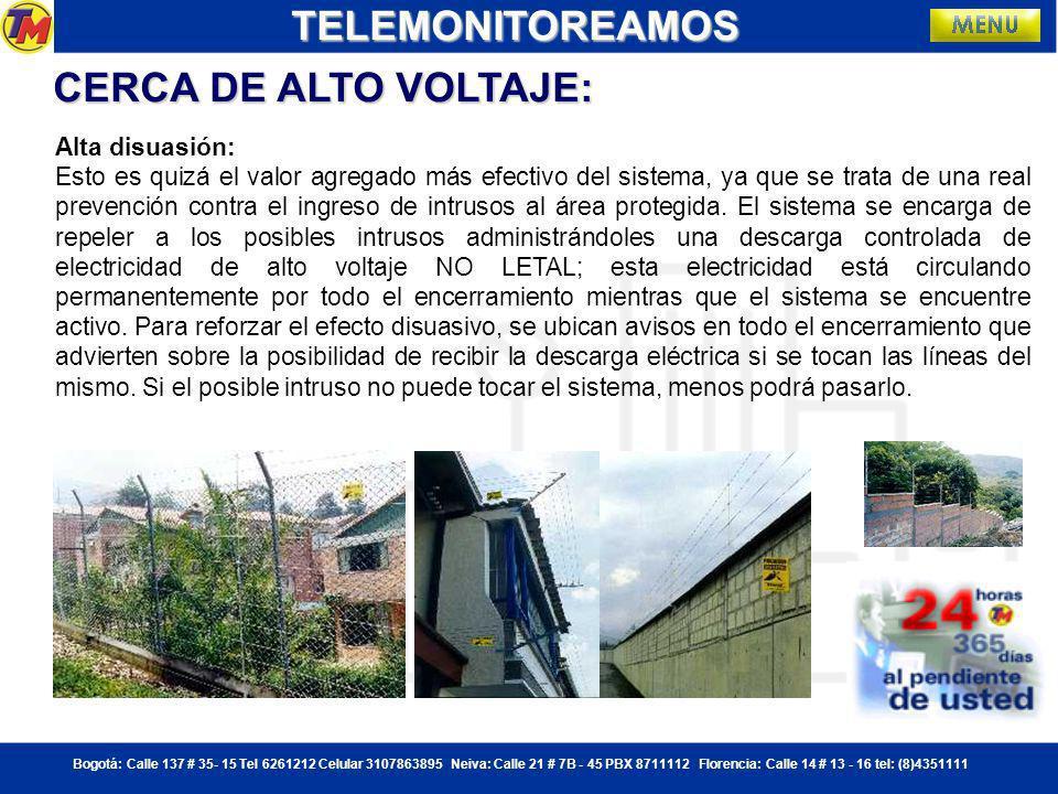 TELEMONITOREAMOS CERCA DE ALTO VOLTAJE: Alta disuasión: