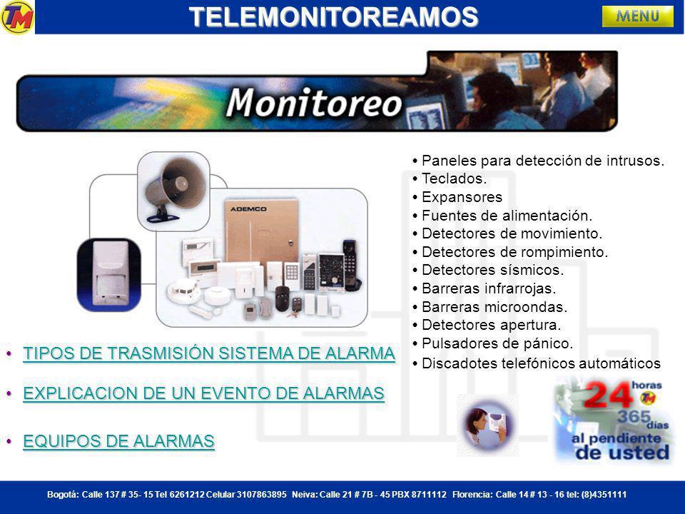 TELEMONITOREAMOS TIPOS DE TRASMISIÓN SISTEMA DE ALARMA