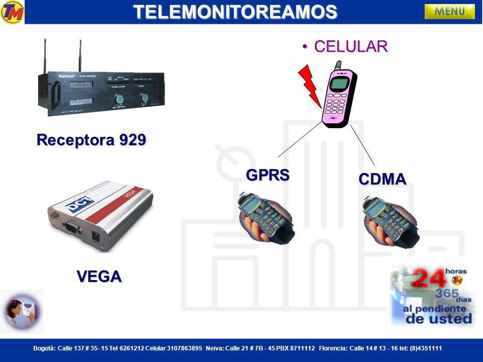 TELEMONITOREAMOS CELULAR Receptora 929 GPRS CDMA VEGA