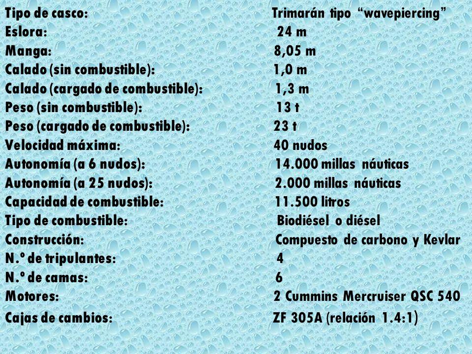 Tipo de casco: Trimarán tipo wavepiercing Eslora: 24 m Manga: 8,05 m Calado (sin combustible): 1,0 m Calado (cargado de combustible): 1,3 m Peso (sin combustible): 13 t Peso (cargado de combustible): 23 t Velocidad máxima: 40 nudos Autonomía (a 6 nudos): 14.000 millas náuticas Autonomía (a 25 nudos): 2.000 millas náuticas Capacidad de combustible: 11.500 litros Tipo de combustible: Biodiésel o diésel Construcción: Compuesto de carbono y Kevlar N.º de tripulantes: 4 N.º de camas: 6 Motores: 2 Cummins Mercruiser QSC 540 Cajas de cambios: ZF 305A (relación 1.4:1)