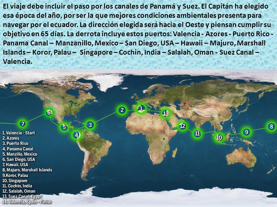 El viaje debe incluir el paso por los canales de Panamá y Suez