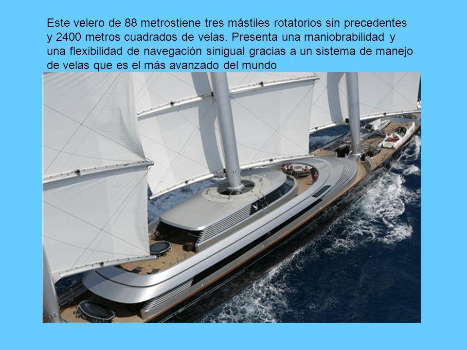 Este velero de 88 metrostiene tres mástiles rotatorios sin precedentes y 2400 metros cuadrados de velas.