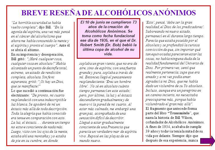 BREVE RESEÑA DE ALCOHÓLICOS ANÓNIMOS