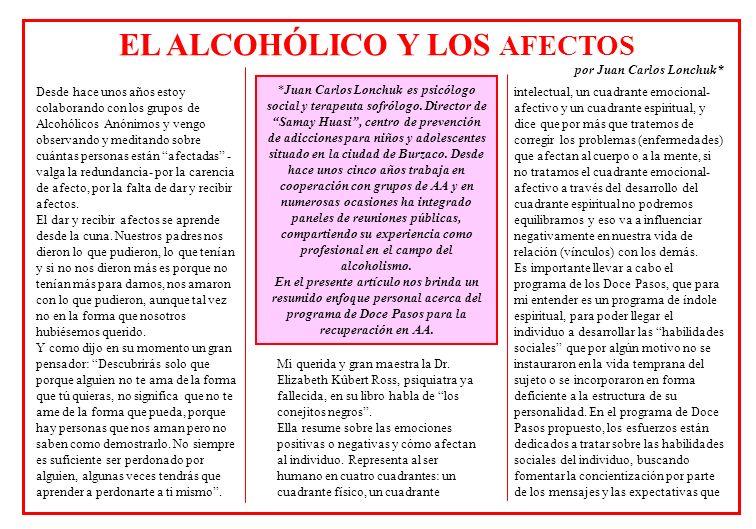 EL ALCOHÓLICO Y LOS AFECTOS