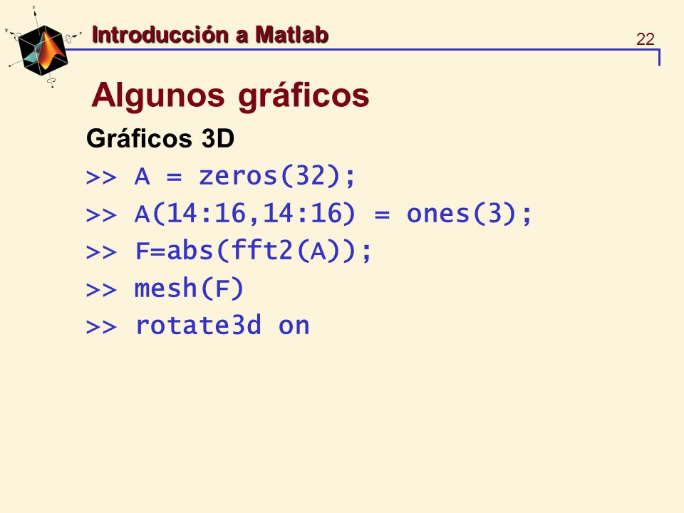 Algunos gráficos Gráficos 3D >> A = zeros(32);