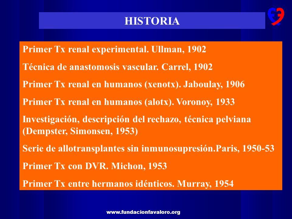 HISTORIA Primer Tx renal experimental. Ullman, 1902