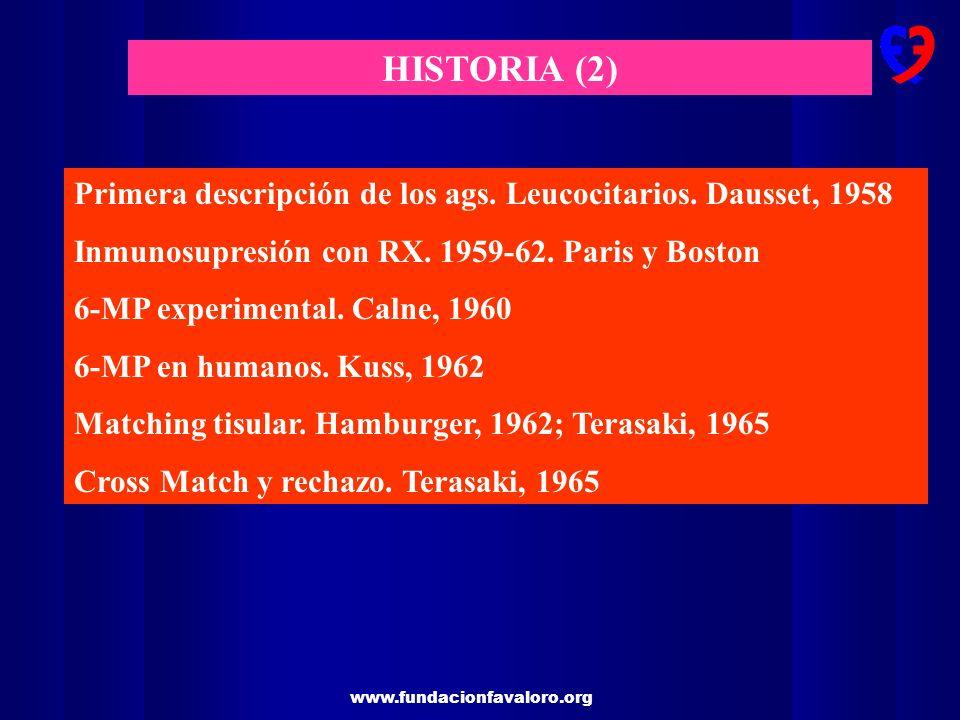 HISTORIA (2) Primera descripción de los ags. Leucocitarios. Dausset, 1958. Inmunosupresión con RX. 1959-62. Paris y Boston.