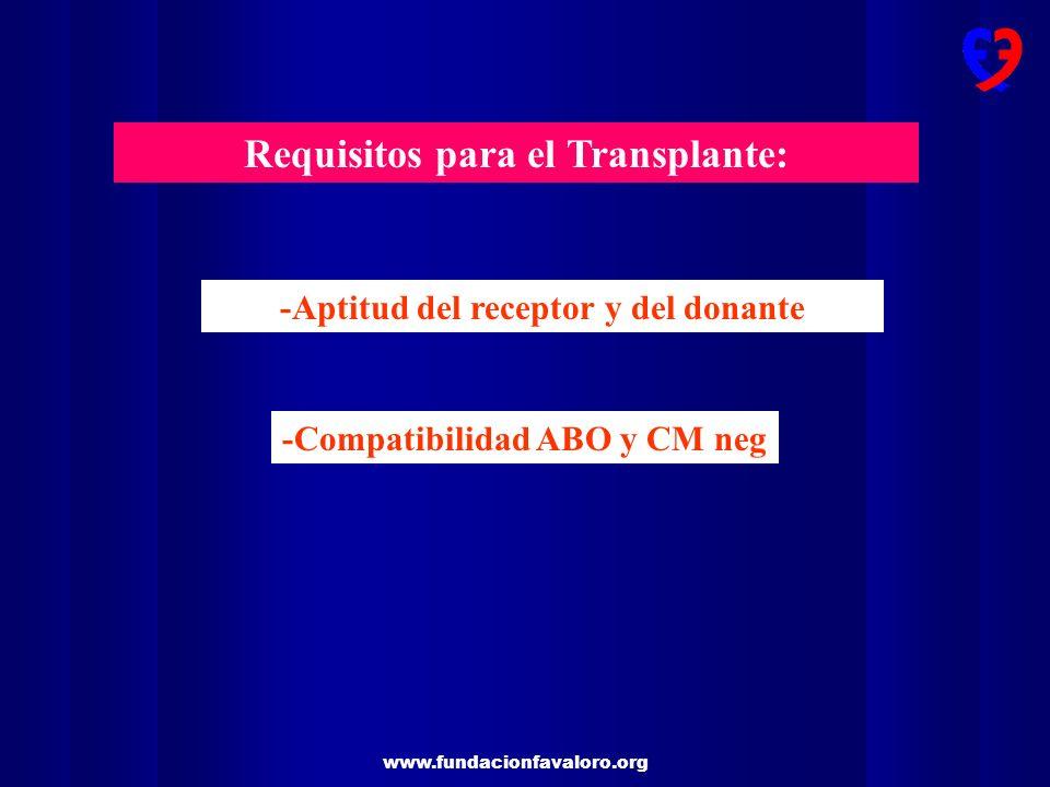 Requisitos para el Transplante: -Aptitud del receptor y del donante