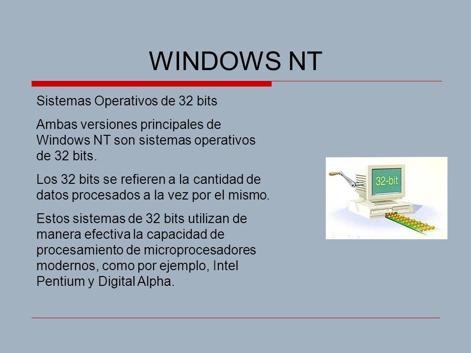 WINDOWS NT Sistemas Operativos de 32 bits