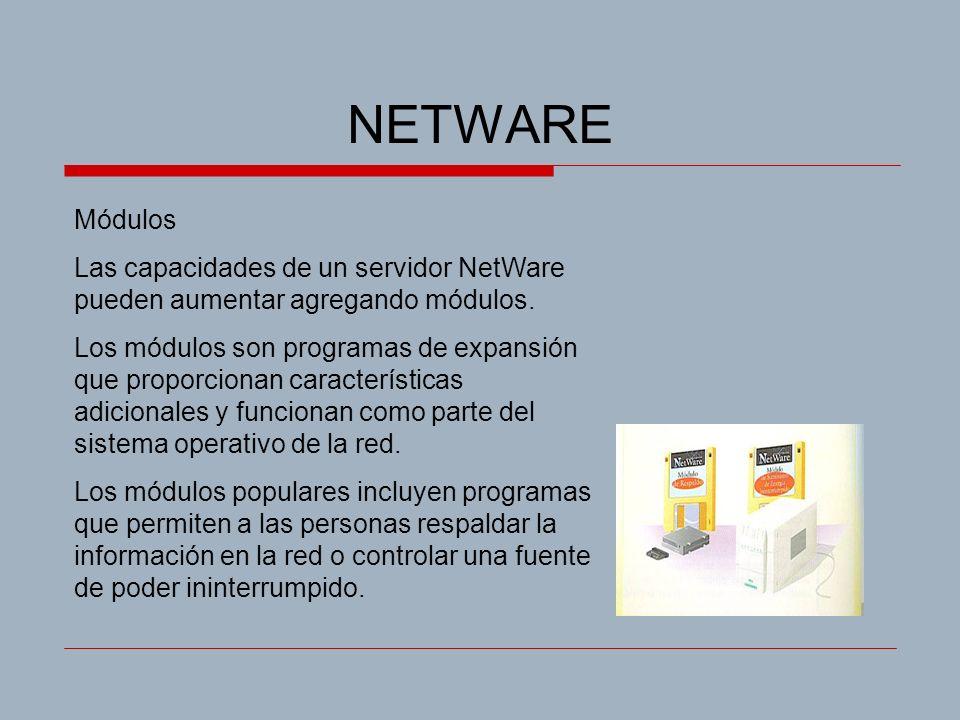 NETWARE Módulos. Las capacidades de un servidor NetWare pueden aumentar agregando módulos.