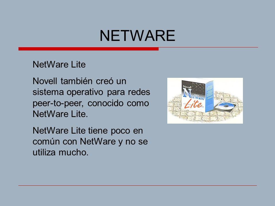 NETWARE NetWare Lite. Novell también creó un sistema operativo para redes peer-to-peer, conocido como NetWare Lite.