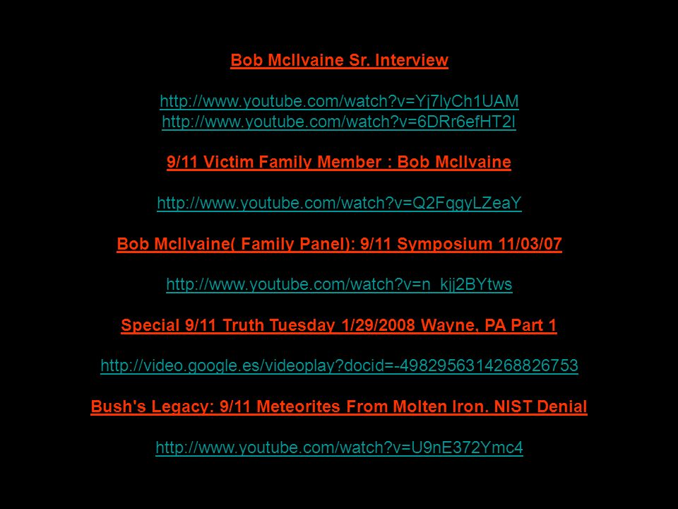 Bob McIlvaine Sr. Interview http://www.youtube.com/watch v=Yj7lyCh1UAM