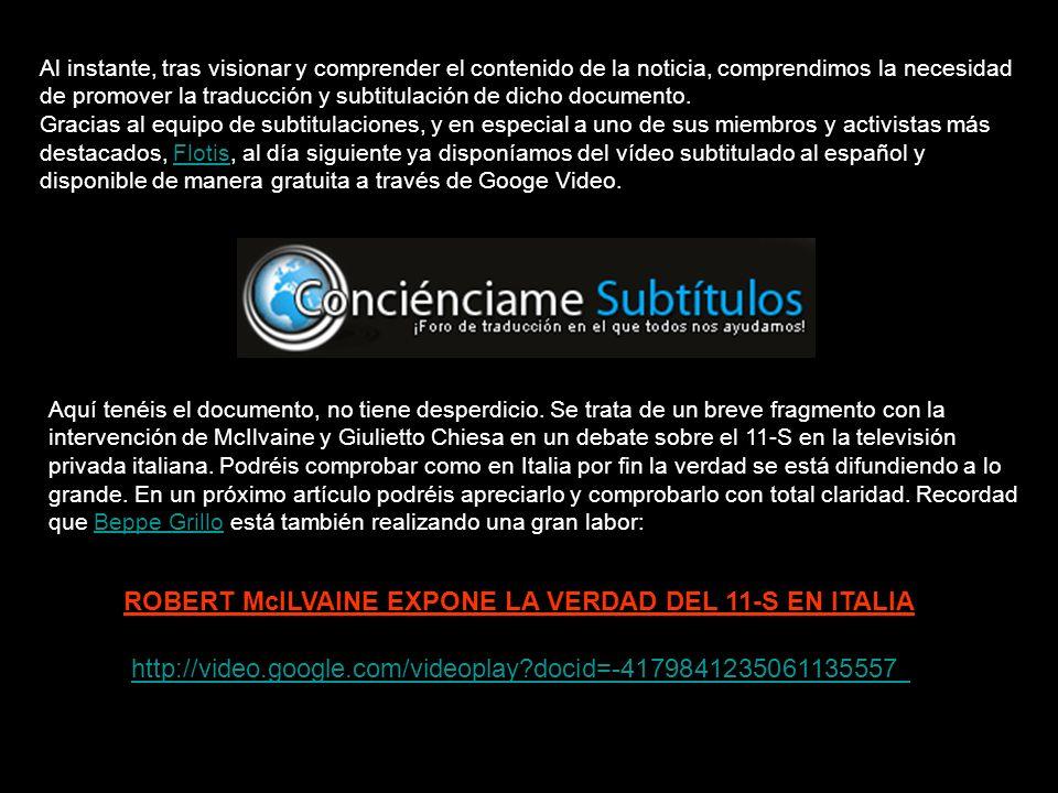 ROBERT McILVAINE EXPONE LA VERDAD DEL 11-S EN ITALIA
