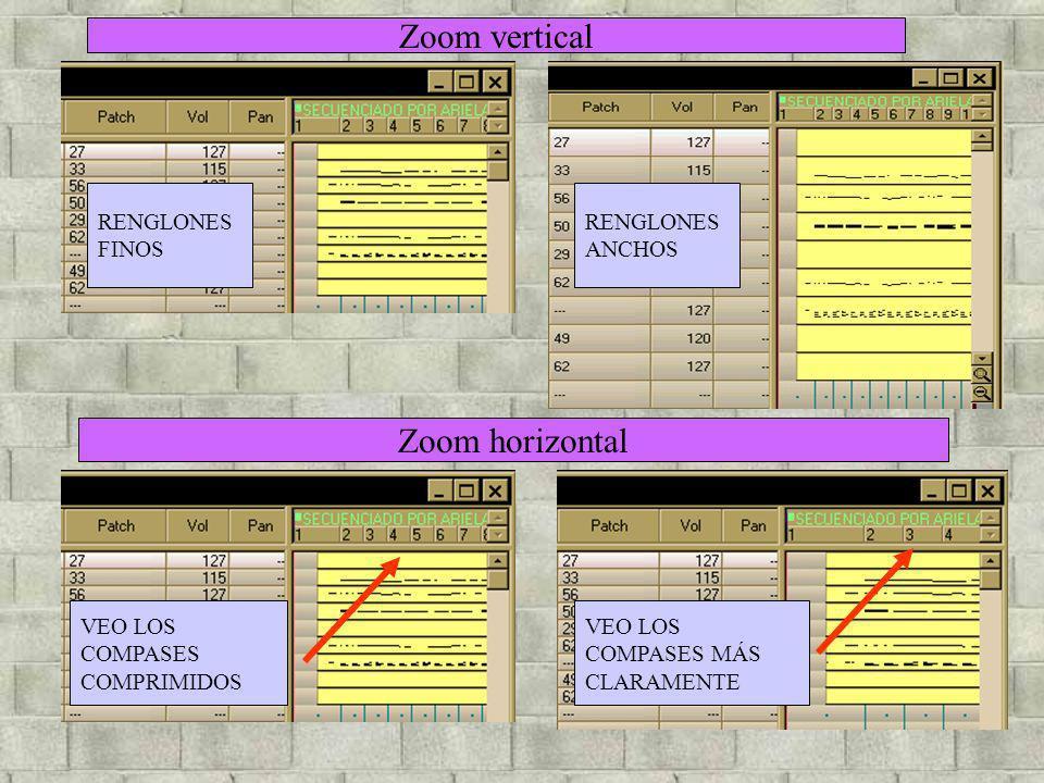 Zoom vertical Zoom horizontal RENGLONES FINOS RENGLONES ANCHOS VEO LOS