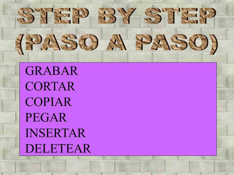 GRABAR CORTAR COPIAR PEGAR INSERTAR DELETEAR STEP BY STEP