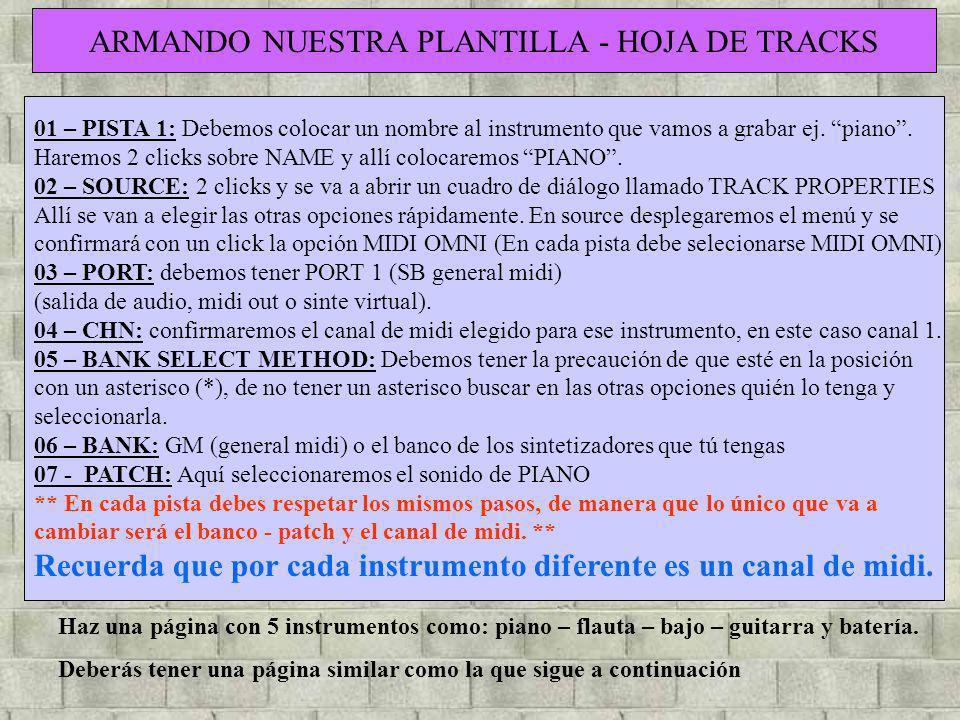 ARMANDO NUESTRA PLANTILLA - HOJA DE TRACKS