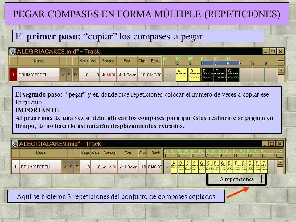 PEGAR COMPASES EN FORMA MÚLTIPLE (REPETICIONES)