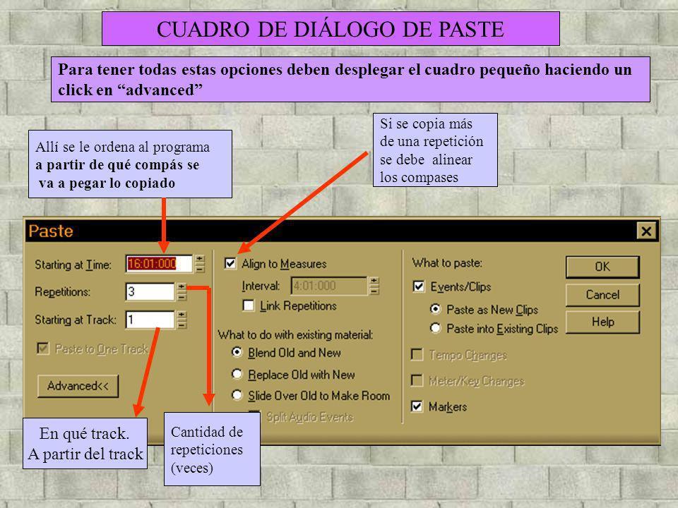 CUADRO DE DIÁLOGO DE PASTE