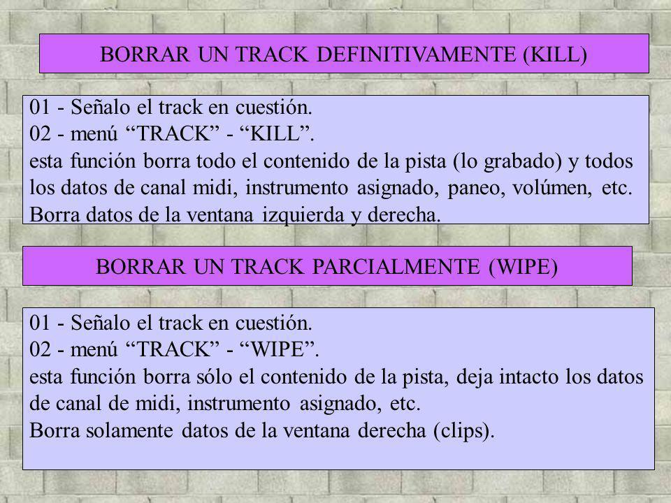 BORRAR UN TRACK DEFINITIVAMENTE (KILL)