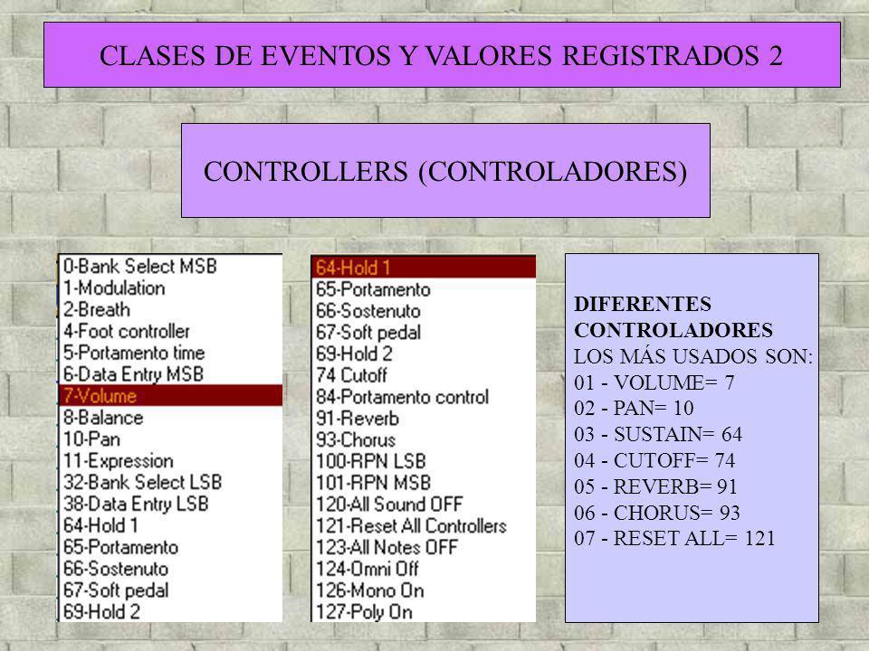 CLASES DE EVENTOS Y VALORES REGISTRADOS 2